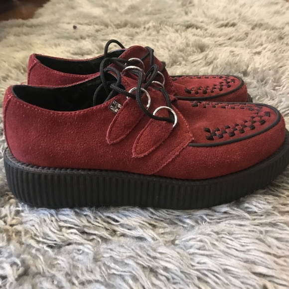 T.U.K Shoes   Tuk Red Suede Creepers